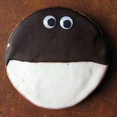 Black & white cookie with googly eyes