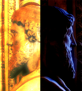 Janus, as liminal two-faced god, looking into two rooms at once, both the future and the past.